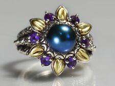 Barbara Bixby Sterling Silver 18k Gold Multi-gemstone Flower Ring Size 8.5