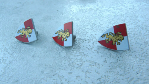 LEGO Ritter 3x VINTAGE Schild shield Löwe rot//weiss gold 3846pb27  #R9