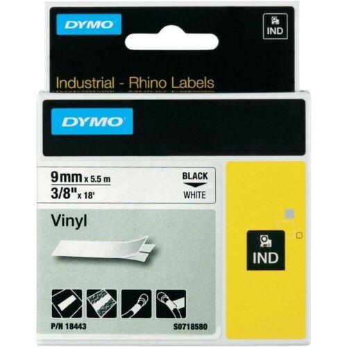 """DYMO 18443 RhinoPro Vinyl Tape 3//8/"""" Blk//Wht 5000 5200 Fits RhinoPro 4200"""