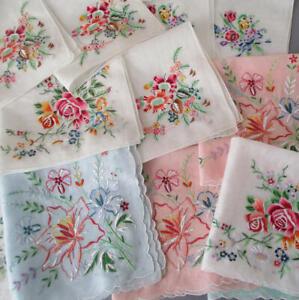 16-Vintage-Handkerchiefs-Hand-Embroidered-APPENZELL-Drawn-Thread-Work-FLOWERS
