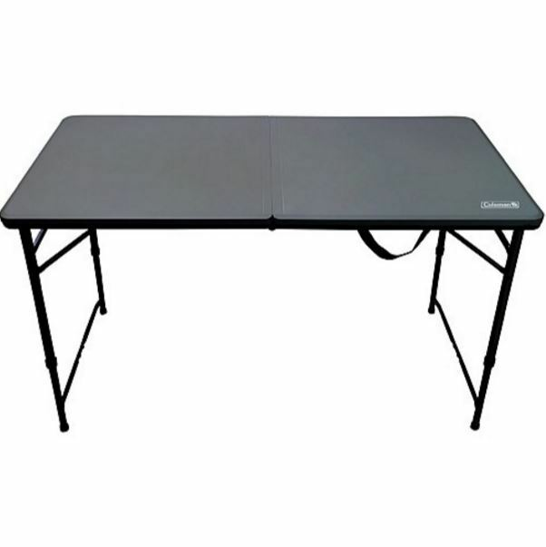 NEW COLEMAN 4 FOOT FOLD IN HALF TABLE UV PredECTED LIGHTWEIGHT STURDY OUTDOOR
