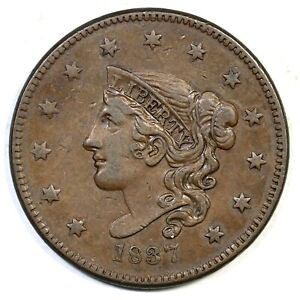 1837-N-8-Med-Letters-Plain-Cords-Matron-or-Coronet-Head-Large-Cent-Coin-1c