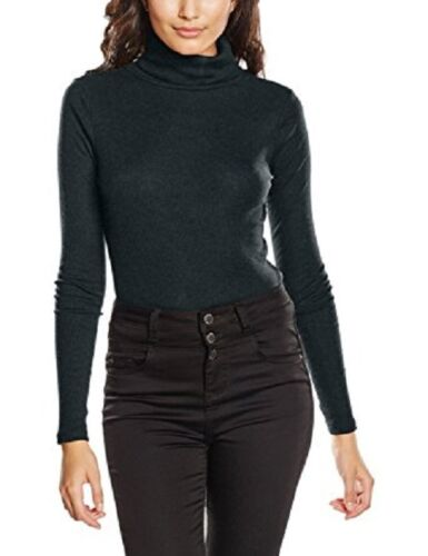 LADIES DARK GREEN FINE RIBBED ROLL NECK TOP IN SIZES 10 TO 18 BNWT