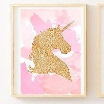 Set of 3 Gold Glitter Unicorn Print Pink Girls Bedroom Nursery Wall Art Decor