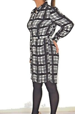 Womens Long Sleeved Black Checked Shirt Dress With Belt In Sizes 6 8 10 12