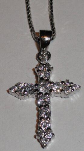 St 45 cm Leonhard Silber Anhänger Kreuz mit Zirkonen und Kette