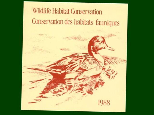 1988 $6.50 Canada Wildlife Habitat Stamp in Folding Card (95mm X 100mm)