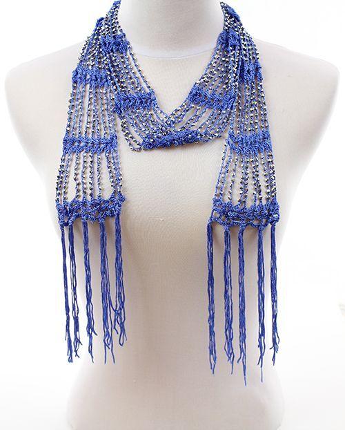 Fashion Crocheted Bling Rhinestone Beaded Colorful Knitted Scarf Belt Shawl Wrap