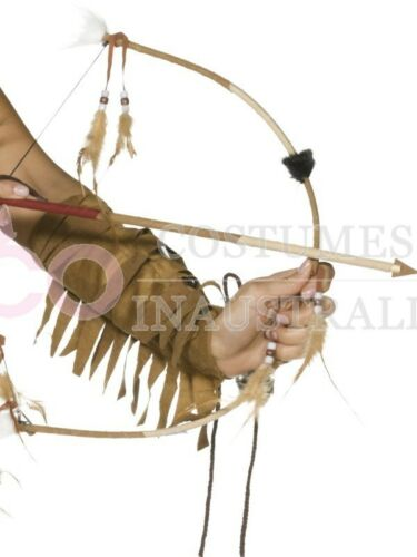 Feathered Western Indian Bow Arrow Set Indians Wild West Costume Accessories