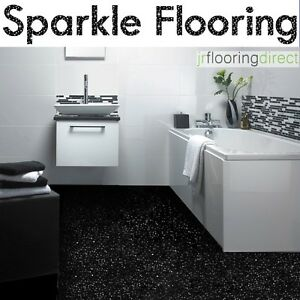 Image Is Loading BLACK Sparkly Bathroom Flooring Glitter Effect Vinyl Floor