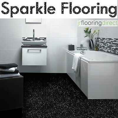 Black Sparkly Bathroom Flooring Glitter Effect Vinyl Floor Next Sparkle Lino Ebay