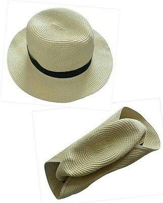 Crushable Uomo Donna Colore Naturale Beach Sun Hat. Panama Style. M L Taglie-mostra Il Titolo Originale