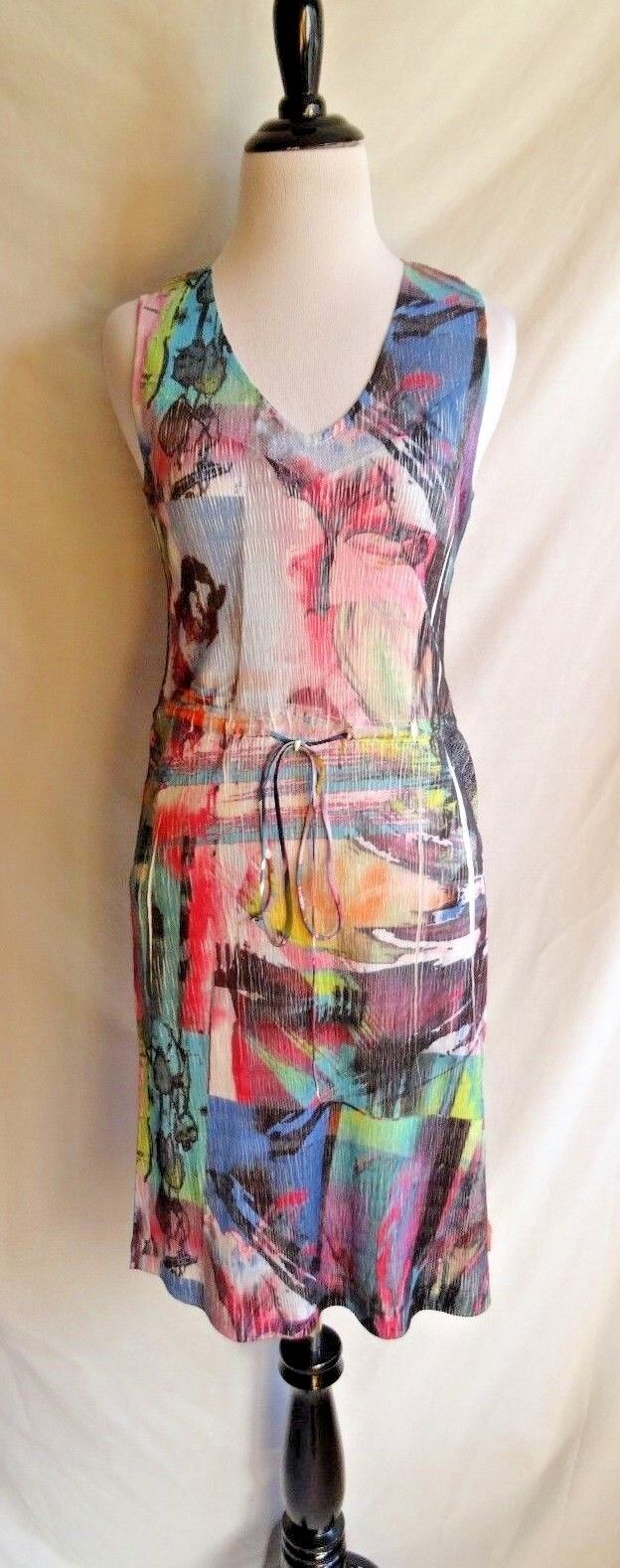 Komarov L Charmeuse Artsy Abstract Bright Neon Farbeful Party Cocktail Dress