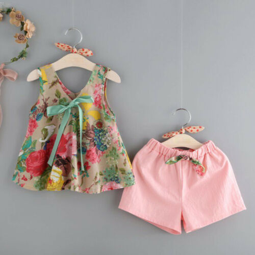 Cotton Floral Clever Tee Vest V-neck Shorts Sleeveless T-shirt Kid Summer Bow