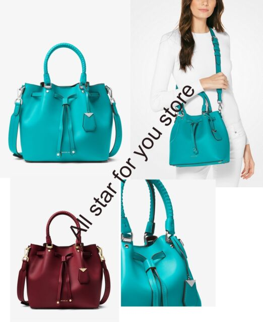 9afd1603d5 Michael Kors Blakely Leather Bucket Bag Turquoise Tile Blue ...
