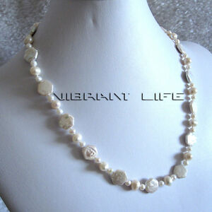 20-034-4-10mm-White-Off-Round-Coin-Freshwater-Pearl-Necklace-UE