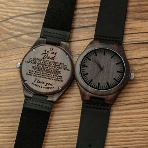 Image Is Loading Engraved Wooden Watch For Son Husband Dad Customized