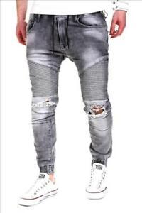JEANS-Uomo-Biker-Jeans-Pantaloni-Grigio-Strappati-Ripped-denim-slim-fit-John-Kayna