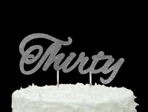 30th Birthday Cake Topper Glitter Gold Number Thirty Cake Topper