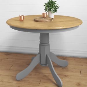 Details About Pedestal Dining Table Round Oak Furniture Solid Wood Kitchen Small Leg Breakfast