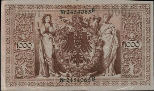 1910 German Empire Huge 1000 Mark Banknote GREEN SEAL