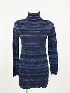 White-House-Black-Market-Turtleneck-Black-Blue-Mini-Dress-Tunic-Glitter-Size-S