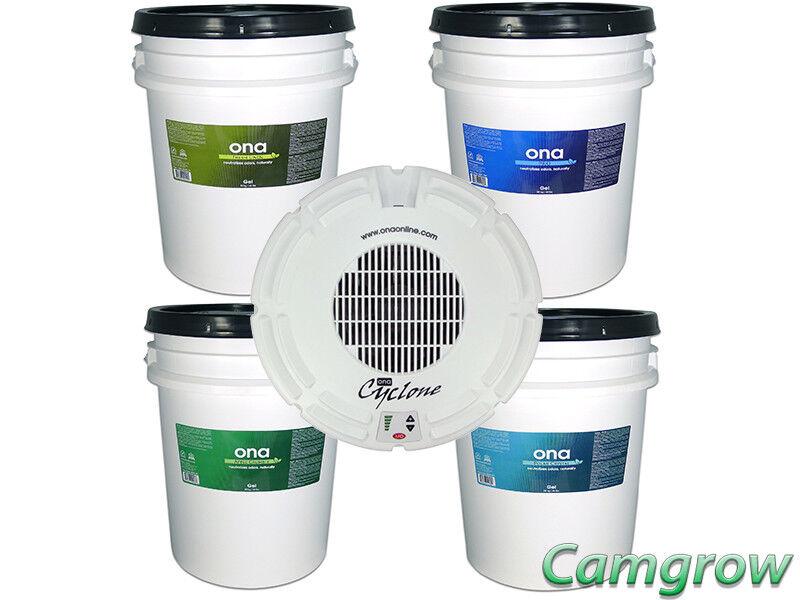 Ona-Ventilador de ciclón para 20 Litro Gel tinas & Ona olor neutralizantes 2O Litro Tinas