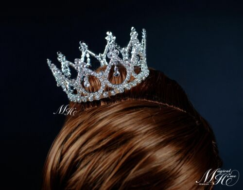 Small Crown Vintage Tiara Clear Rhinestone Crystal Bridesmaid Pageant Prom Party