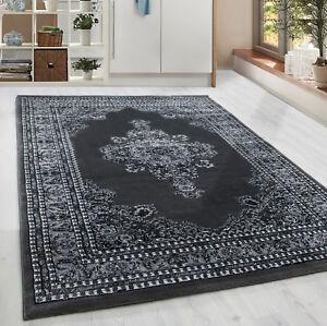 Klassiker-Orient-Design-Teppich-Borduere-Grau-Meliert-Wohnzimmer-6-Groessen