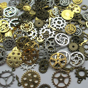 100 GRAMS OF STEAMPUNK COGS AND GEARS  IN GOLD METAL ALLOY FROM 40mm to 8mm