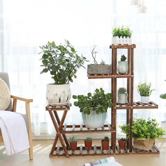 46ea01a64b57 5 Tier Wooden Plant Flower Pot Stand Display Shelf Vintage Indoor Outdoor  Garden