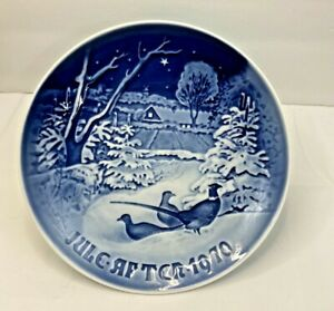 "Bing Grondahl Blue & White 1970 Jule After 7"" Plate Phesants in the Snow w/Box"