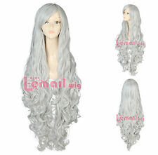 Japanese Anime Lolita Long Silver White Wavy Curly Cosplay Hair Wigs USA Ship