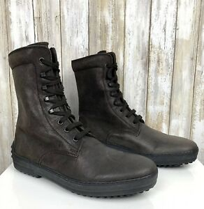 Tod-039-s-Lace-Up-Combat-Boots-Brown-Grey-Suede-Nubuck-Mens-6-Womens-8-UNISEX