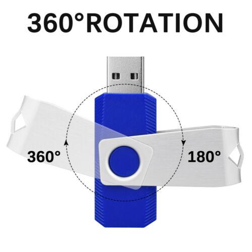 10 Pcs Blue 8 GB USB 2.0 Flash Drive Swivel Memory Stick Thumb Pen Drive Storage