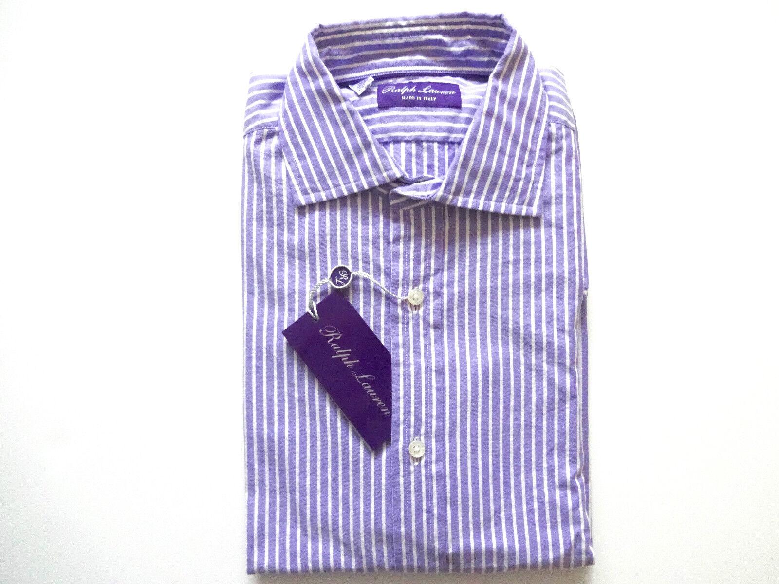 New Ralph Lauren lila Label  Striped 100% Cotton Dress Shirt Größe 15
