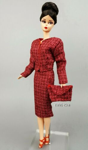 Eaki Red Dress Coat Outfit Fits Silkstone Vintage Repro Style Fashion Royalty FR