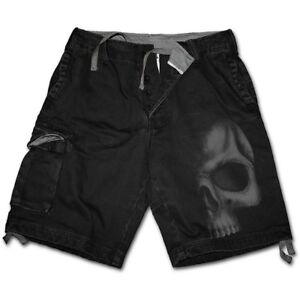Spiral-Direct-SHADOW-SKULL-GREY-Vintage-Cargo-Shorts-Death-Metal-Biker-Rock