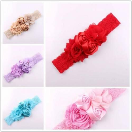 Girls Rose Flower Headband Elastic Soft Lace Band Hairband Hair Accessories LD