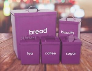 5pc-Cuisine-Bread-Bin-Canister-Set-the-cafe-sucre-biscuits-Stockage-Pots-Violet