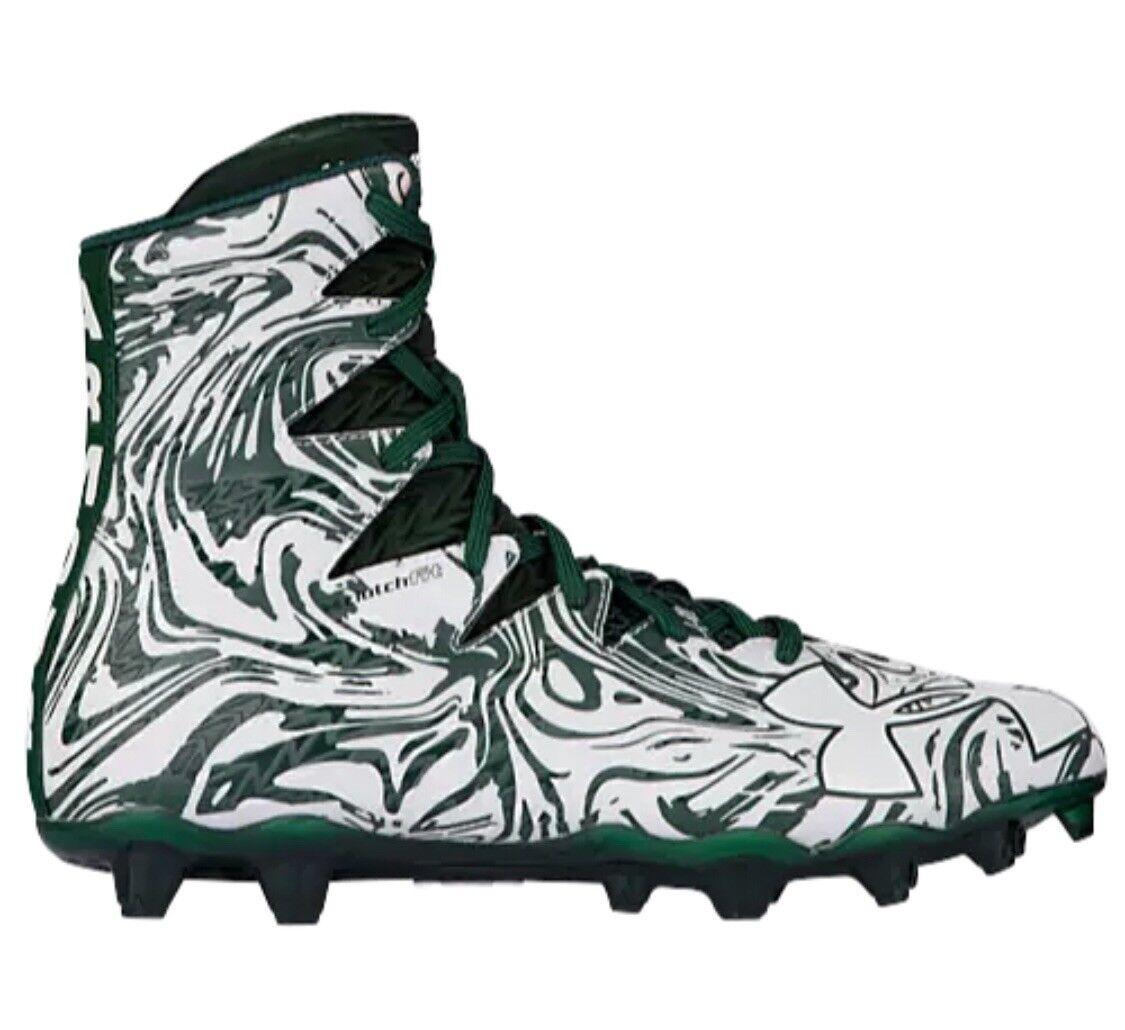 4997a2587c79 NIB Under Armour UA Highlight LUX MC Uomo verde bianca Football Cleats 12  Nuovo