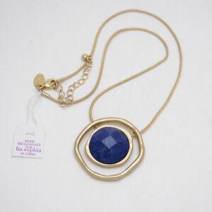 Lia-Sophia-jewelry-matte-gold-plated-genuine-stone-slide-pendant-necklace-chain
