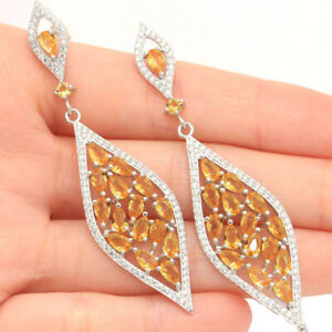 Details about  /18k Gold Plated 925 Sterling Silver Green Tourmaline Crystal Quartz CZ Earrings