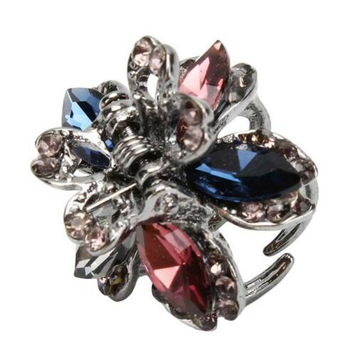 Women Butterfly Flower Small Hair Clips Claw Rhinestone Crystal Sparkly Clip FM