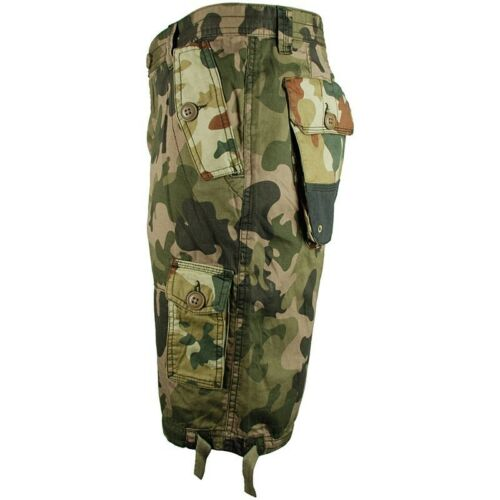 "Bellfield Mens 30/"" Green B Kozelek Camo Shorts BNWT Camouflage Combat Cargo S"