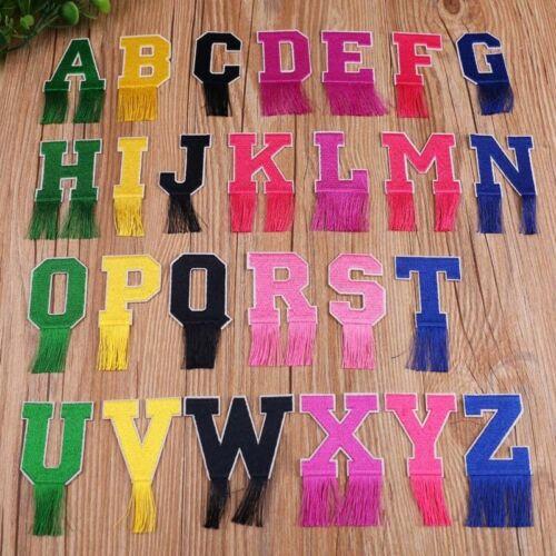 Lettre insigne brodé Iron On Patch Tassel Porte-nom 26 Alphabet emblèmes logo