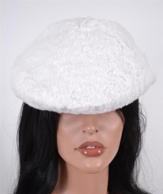 NWT BURBERRY PRORSUM  750 RUNWAY LYDIA WHITE RABBIT FUR FLAT CAP HAT~S 2f1f27d3b23
