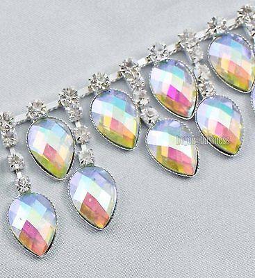 1 Yard Clear Rhinestone AB Color Crystal Sew On Dangling Trim