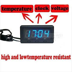 3-en-1-Led-bleu-voiture-thermometre-horloge-tension-temperature-Reflecting-film