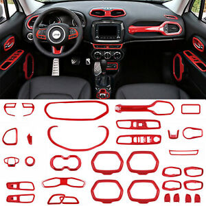 33PCS Red ABS Interior Accessories Parts Decoration Cover Trim For Jeep Renegade